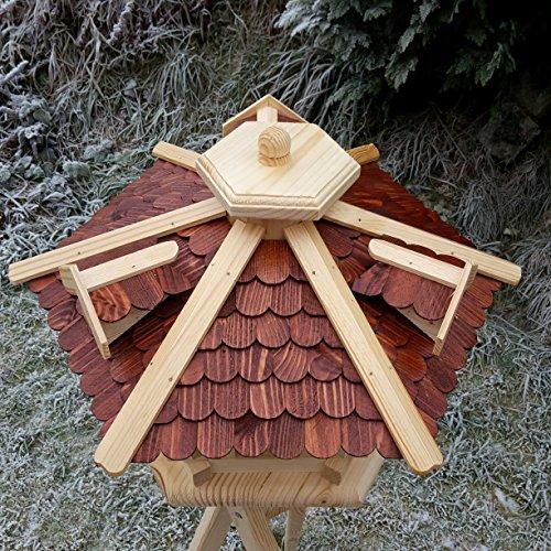 Qualitäts Vogelhaus mit Holzschindeln 6 Eck lasiert Vogelhäuser-Vogelfutterhaus großes Vogelhäuschen-aus Holz Wetterschutz (Braun) - 2