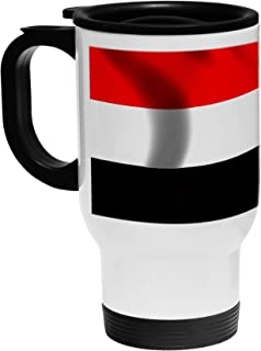 White Stainless Steel Coffee / Travel Mug - Flag of Yemen (Yemeni) - Soccer