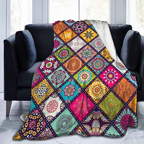 Hoswee Manta de Sofá y Cama, Coperte Mandalas Throw Blanket Warm Blanket Lightweight Microfiber Bed Blanket for Office Sofa Living Room - All Season Premium Bed Blanket 60 X 50 Inches