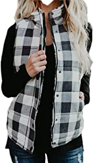 Macondoo Womens Stand Collar Winter Cotton-Padded Classic Plaid Jacket Outwear Vest