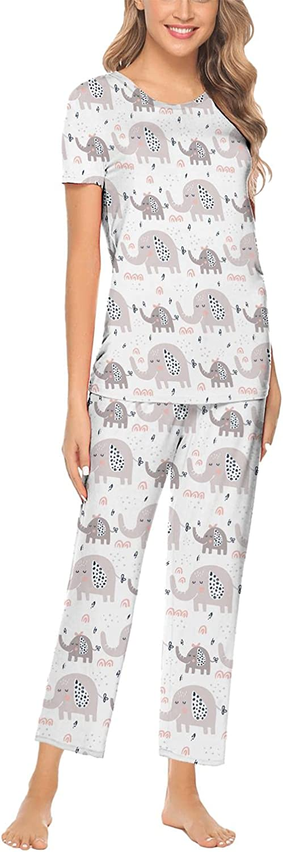 Tribal Cute Elephant Art Print Ladies Pj Sets Long Sleeve Tops & Pants Essentials Scoopneck 2pcs Printed Night Gowns XS-XXL