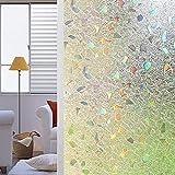 Shackcom Pellicola per Finestre Vetri 3D 60x200CM Traslucida Adesivi per Finestre Colorata Privacy Autoadesive Anti-UV,Controllo di Calore,Privacy per Cucina,Ufficio,Camera da Letto-S170