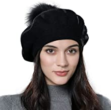 Women Winter French Beret Hats Real Fur Pom Pom Wool Warm Berets Soft Lightweight Casual Hat ¡