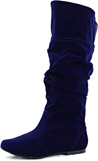 Qupid Womens Neo144 Leatherette Basic Slouchy Knee High Flat Boot