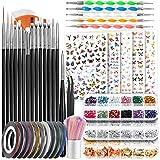 Nail Art Brushes, Nail Dotting Tools, Teenitor Nail Art Design Kit with Butterfly Nail Brush, Nail Art Stickers, Nail Foil, Nail Art Striping Tape, Nail Art Rhinestones