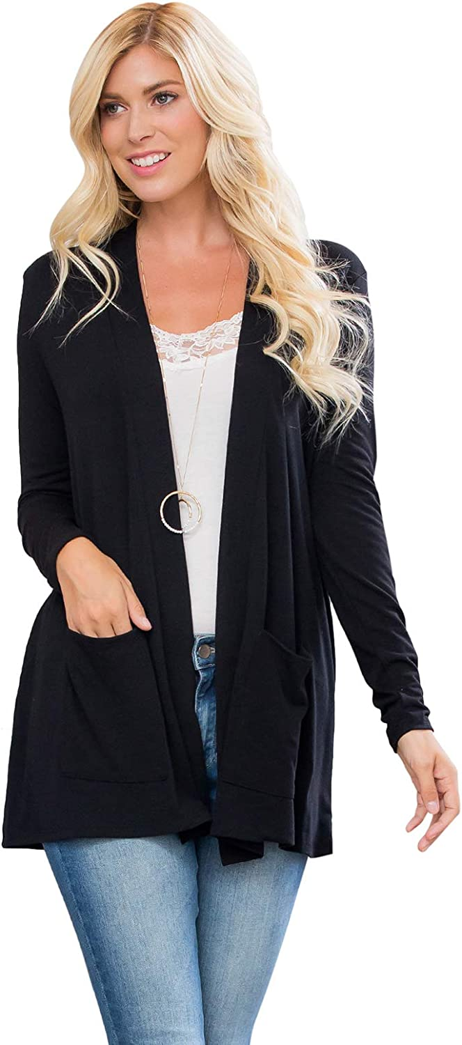 Casual Layering Lightweight Cardigan Front Pocket - Slouchy Long Sleeve Soft Shawl Collar Open Cardi Outer