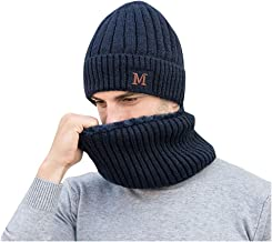 ErYao 2-Pieces Winter Slouchy Beanie Hat Scarf Set Warm Knit Hat Thick Fleece Lined Skull Cap for Men