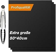 Vivibel - Juego de 3 esterillas para Barbacoa (50 x 40 cm, para carbón Vegetal, Parrilla de Gas y Horno), Color Negro