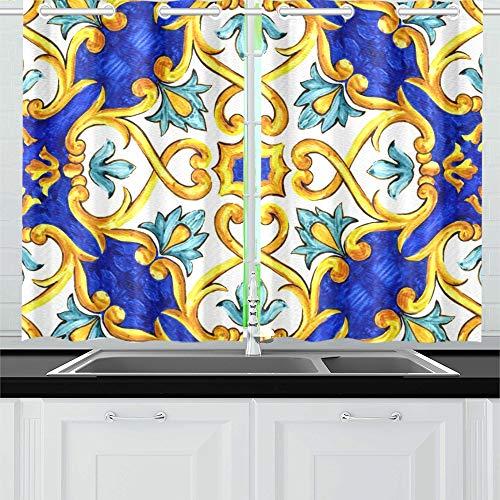 ZHANGhome Ornament auf italienischen Fliesen Majolika Cyan Küche Vorhänge Fenster Vorhang Ebenen für Café, Bad, Wäscheservice, Wohnzimmer Schlafzimmer 26 x 39 Zoll 2 Stück