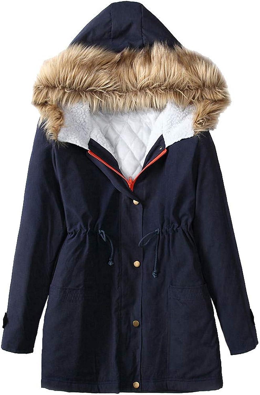 GridNN Women's Winter Long Section Plus Velvet Thick Warm Hooded Fur Collar Slim Waist Beauty Clothes Cotton Jacket Jacket