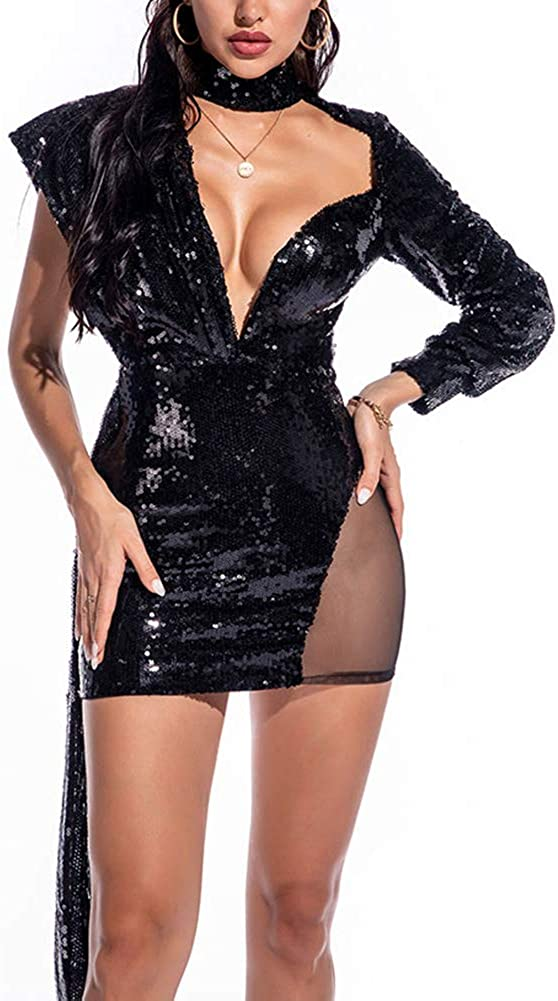 BeneGreat Women's Deep V Jacksonville Mall Neck Sexy Mini B Strappy Max 63% OFF Sequins Tassel