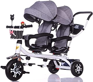 Baby Stroller, Baby Car,Travel Carriage Children's Double Tricycle Twin Baby Trolley Big Stroller Extended Awning (Color : E)