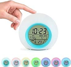 ساعة منبه للأطفال، ساعة استيقاظ رقمية مع ضوء متغير 7 ألوان و6 أصوات تنبيه طبيعية، مع تقويم درجة الحرارة، أفضل ساعة بجانب ا...