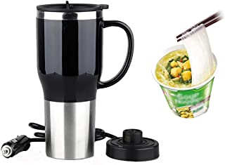 Hot Water Heater Mug for Car - Car Electric Kettle Heated Stainless steel Portable Cigarette Lighter Heating Cup Coffee Cu...