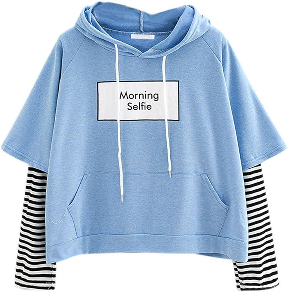 Womens Summer Tops Womens Stripe Patchwork Sweatshirt Short Packet Hoodie Letter Print Pullover Saying Morning Selfie