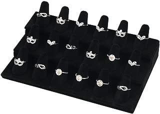 BOCAR Black Velvet 18 Finger Ring Display Showcase Organizer Holder Jewelry Storage Counter