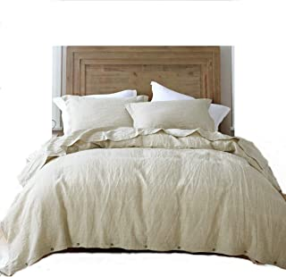 esasilk 3 Pieces/Lot Linen Duvet Cover Set Linen Bedding Sets 100% Pure French Linen Water wash King Queen Twin Size (Cal King, Flax)
