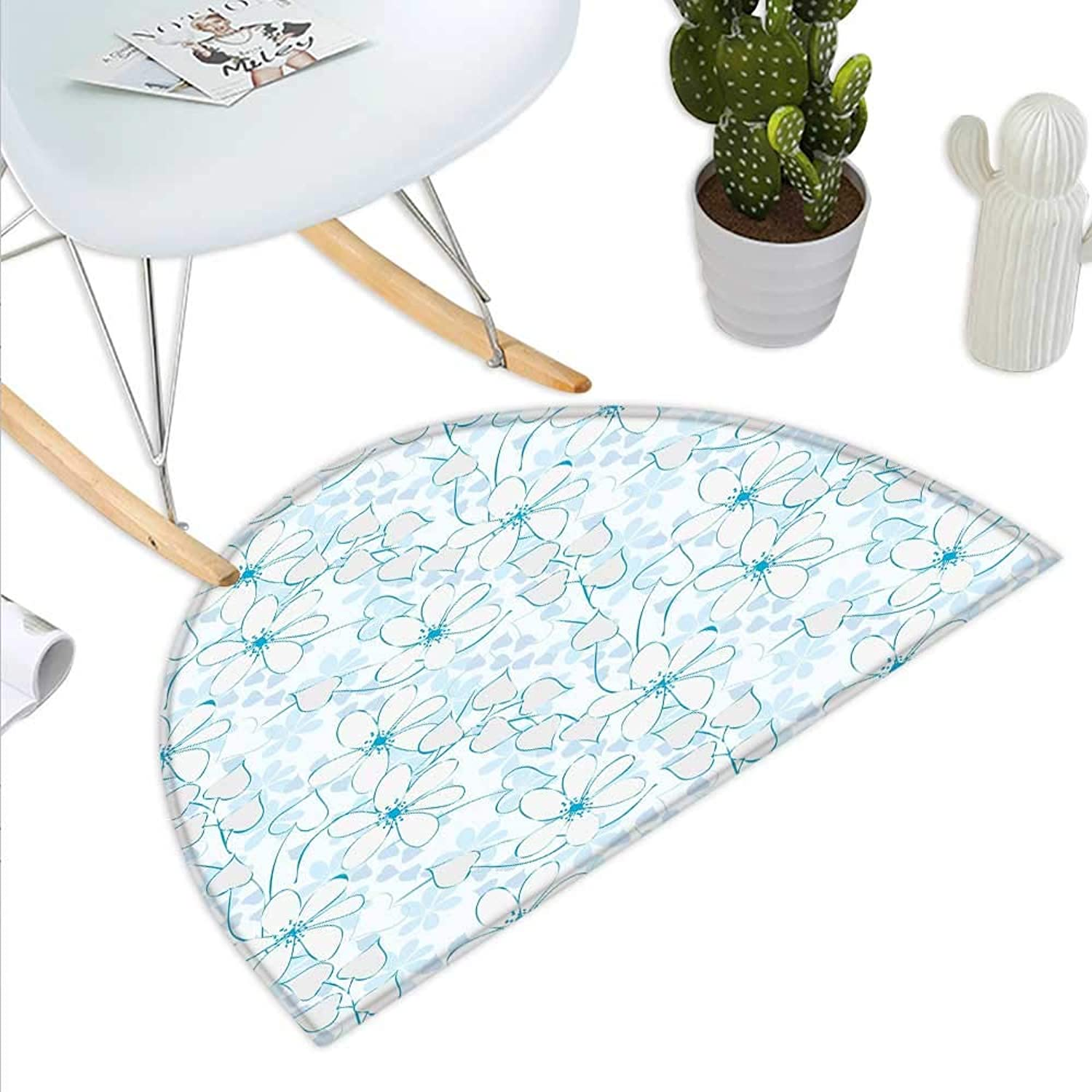 bluee Semicircle Doormat Abstract Flowers with Heart Shaped Leaves Romantic Fresh Beauty in Nature Halfmoon doormats H 43.3  xD 64.9  Pale bluee Aqua White