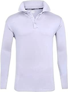 ZITY Mens Polo Shirt Sun Protection Quick-Dry Sweat-Wicking Long Sleeve Sports Golf Tennis T-Shirt White-XL