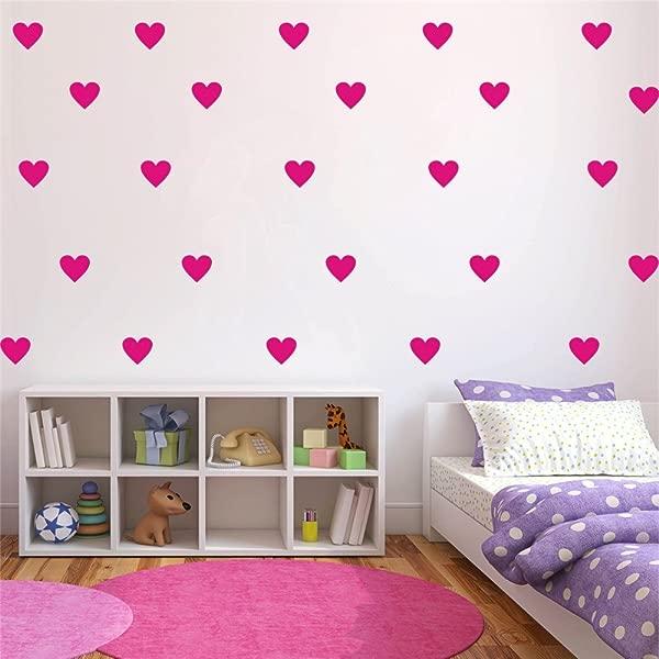 YOYOYU Set Of 96 Pieces 2 Heart Wall Decor Sticker DIY Children S Wall Decor Decals Removable Vinyl Kids Room Baby Boys Grils Bedroom Wall Sticker YYU 19 Fuchsia Pink