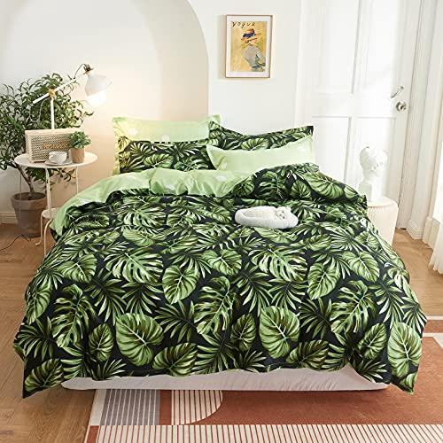 Funda Nordica Verde Cama 105 Hojas Tropicales, Funda Edredon 200x200 cm con 2 x Fundas Almohada de 50x75 cm, Microfibra Juego de Cama de Fundas Nórdicas Muy Suave - Hoja de Monstera