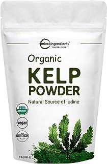 Sustainably US Grown, Organic Kelp Powder (Ascophyllum Nodosum), 1 Pound (16 Ounce), Organic Kelp Supplement, Contains Natural Iodine for Thyroid Support, Body Wraps, Scrubs & Facials, Vegan Friendly