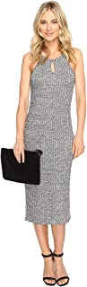 kensie Women's Midi Ribbed Dress with A Keyhole
