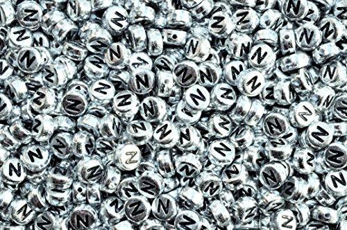 Argent rond plat Lot de 100 perles en acrylique rondes et plates (lettres mixtes ou simples) 7 mm, Acrylique, letter N, 7 mm