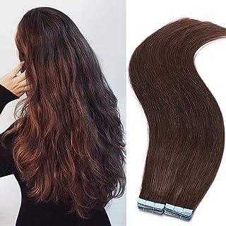 30cm - Extensiones Adhesivas de Pelo Natural Sin Clip (2g*20pcs)-4# Marrón Medio Tape in Hair Extensions Cabello Natural con Cinta Adhesiva