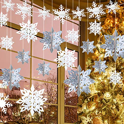 Unves Christmas Hanging Snowflake Decorations, 12PCS 3D Snowflakes(Silver & Pearl), 12PCS White Paper Snowflake Garland, Christmas Winter Decorations Wonderland Holiday New Year Party Decor Supplies