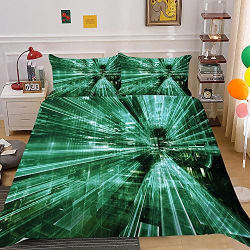 Fundas Nordicas Cama 105 Luz Verde Ropa de Cama 180x220 de Microfibra - 2 Funda de Almohada 50x75 cm