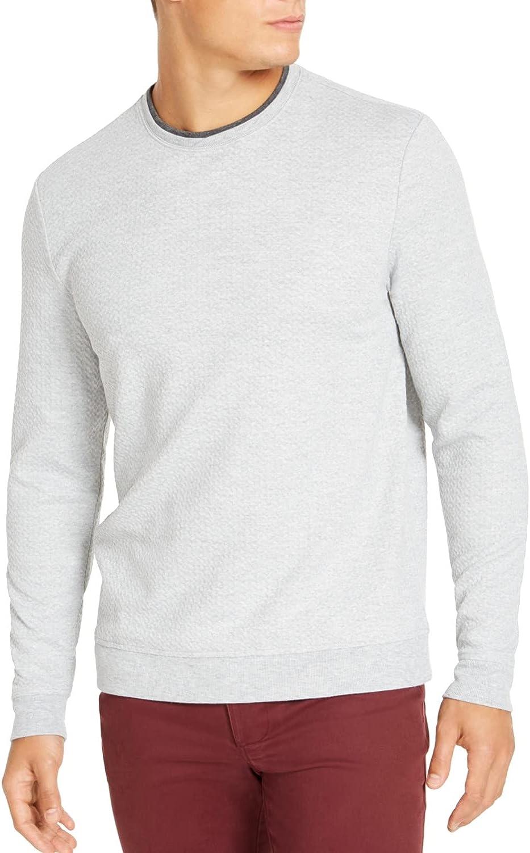 Tasso Elba Mens Sweater Heather Crossover Crew Pullover Gray XL
