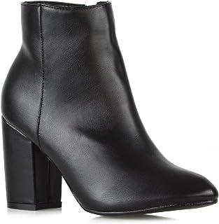 ESSEX GLAM Frauen Lässig Block Mittelhoher Absatz Knöchel Stiefel Damen Elegant Party Booties Schuhe