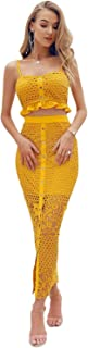 Women's 2 Piece Lace Outfit Dress Button Down Cami Crop Top Long Skirt Set