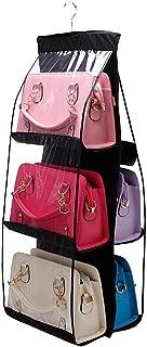 6-Pocket Hanging Purse Handbag Tote Storage Holder Organizer Dust-proof Closet Wardrobe Hatstand Space Saver, Black
