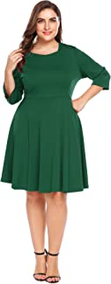COMFY MATERIAL: This plus size flare dress are made of 95% Polyester, 5% Spandex. The material is soft, skin-touch, breathable, and comfortable, will not shring after wash, makes you enjoy this dress flattering.
