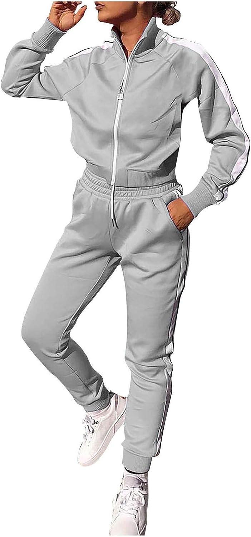 WUAI Tracksuit Women's 2 Pieces Joggers Outfits Sports Sweatsuits Set Casual Zipper Jackets Sweatpants Sport Suit Activewear