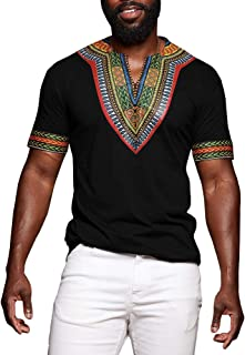 Mens African Tribal Dashiki Floral Short Sleeve T Shirt Blouse Tops