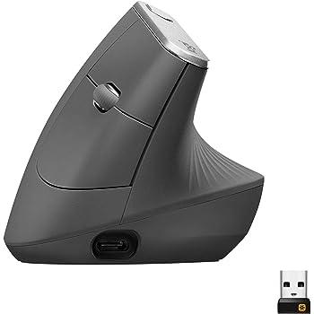 Logitech MX Vertical Ergonomische Kabellose Maus, Bluetooth und 2.4 GHz Verbindung via Unifying USB-Empfänger, 4000 DPI Sensor, Wiederaufladbarer Akku, 4 Tasten, Multi-Device, PC/Mac/iPadOS - schwarz