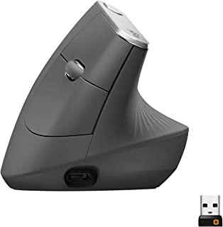 Logitech MX Vertical Ergonomic Wireless Mouse, Multi-Device, Bluetooth or 2.4GHz Wireless with USB Unifying Receiver, 4000...