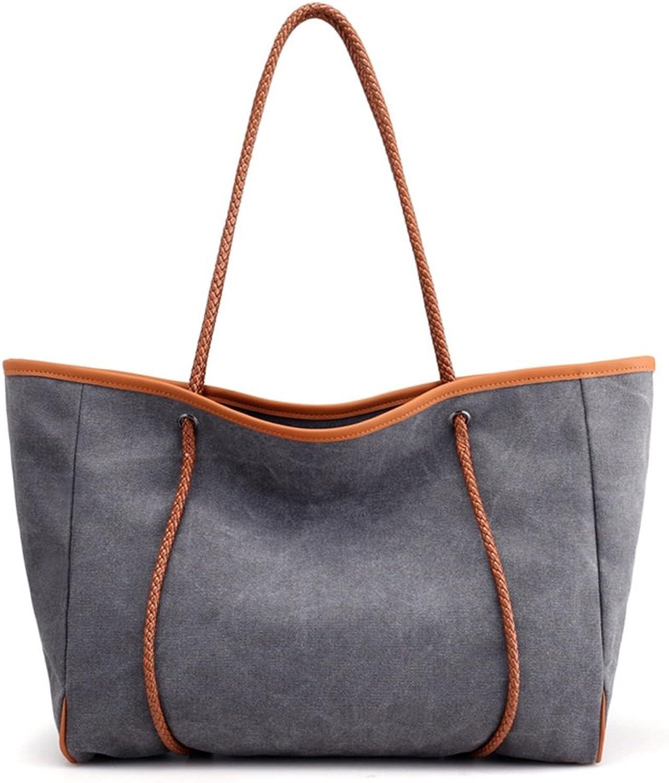 Sunbobo Leisure retro Große handgewebte handgewebte handgewebte Hand-Tote Tasche Canvas Bag, Grau B07CYN55WW  Vorzugspreis 4a48c5