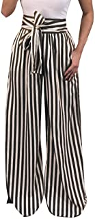 Libermall Womens Fashion Loose Striped Print Drawstring Elastic Waist Long Trousers Harem Pants Womens Casual Pants