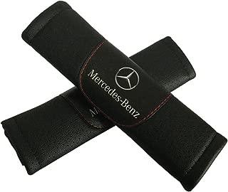 Jimat 2pcs Mercedes Benz Logo Black Leather Car Seat Safety Belt Strap Covers Shoulder Pad Accessories Fit For Mercedes GLC-class GLE-class GLS-class Metris S-class SL-class SLC-class Sprinter
