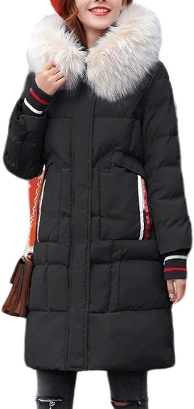 Uaneo Women's Slim Casual Faux Fur Neck Thick Hoodie Winter Mid Long Parka Coat(Black-M)