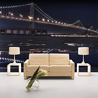 Home Improvement Custom 3D Photo Wallpaper Bridge City Night View Wall Mural Wall Paper For Living Room Sofa TV Background...