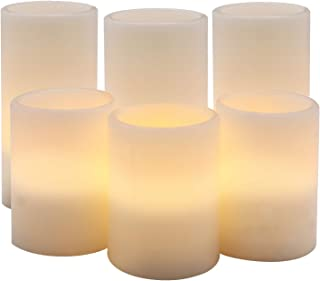 DRomance White Flameless Pillar Candles Battery Operated with 8H Timer, Set of 6 Real Wax Amber Yellow LED Flickering Candles Christmas Home Decoration