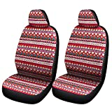 SOBONITO Boho Red Seat Covers for Women-Colorful Seat Covers for Car Front Seats,1 Pair (FR-C)
