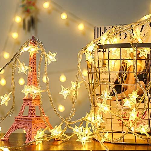 Modrad 10M 80er LED Lichterkette Sterne Batterie Weihnachtsbeleuchtung Innen und Außen Beleuchtung Deko Lichterkette Batteriebetrieben Warmweiß Außenlichterkette Weihnachten