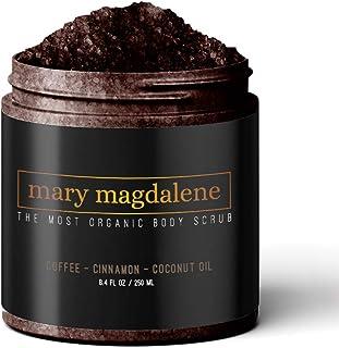 Mary Magdalene Coffee, Cinnamon & Coconut Oil Body Scrub - 100% Natural, Anti Cellulite & Stretch Mark Treatment - 8.4 Fl ...