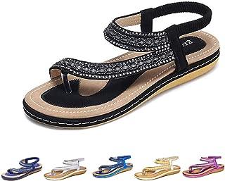 Summer Flat Sandals for Women, Bohemian Rhinestone Sandals Outdoor Flip Flops Beach Thong Anti-Slip Shoes
